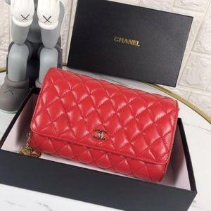 Chanel red sheepskin bag